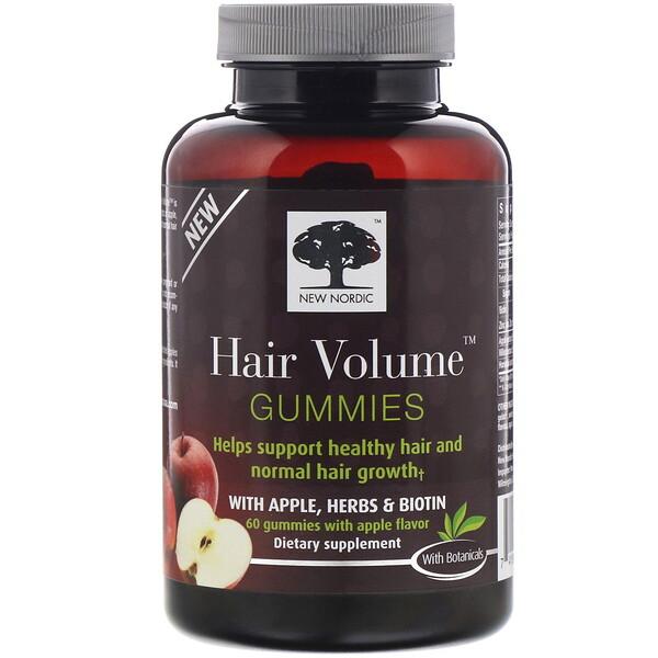 New Nordic, Hair Volume, жевательные таблетки для густоты волос с яблоком, травами и биотином, яблочный вкус, 60жевательных таблеток