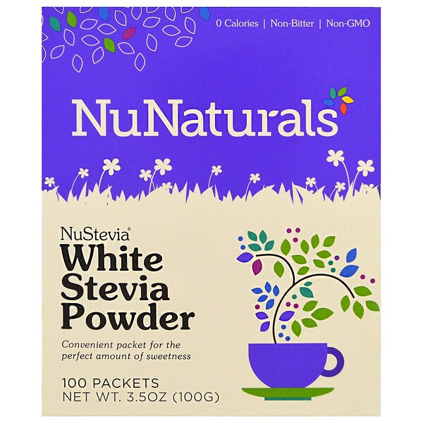 NuNaturals, NuStevia, белый порошок стевии, 100 пакетиков, 100 г (3,5 унции)