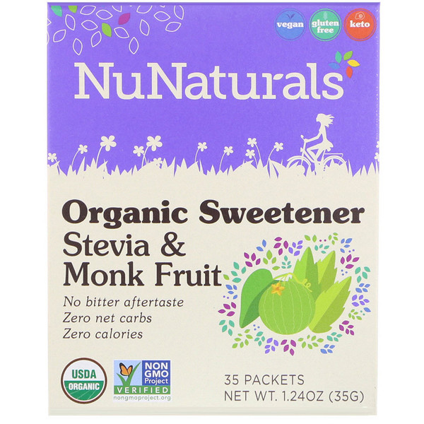 NuNaturals, Органический подсластитель, стевия и архат, 35 пакетиков по 1,24 унц. (35 г) (Discontinued Item)