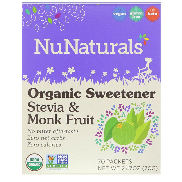 NuNaturals, Органический подсластитель, стевия и архат, 70 пакетиков, 2,47 унции (70 г)
