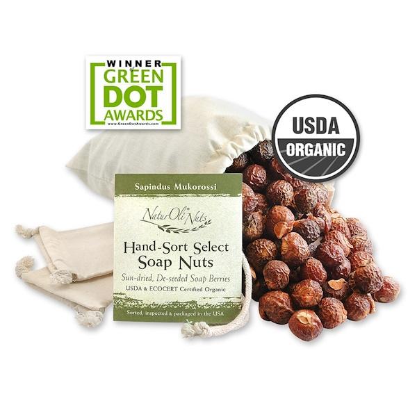 NaturOli, Organic, отобранные вручную мыльные орехи с 2 муслиновыми мешочками на кулиске, 16 унций (Discontinued Item)