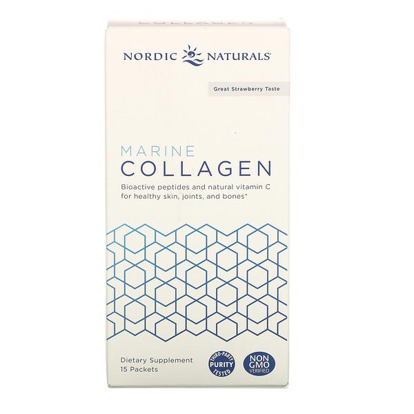 Marine Collagen, Strawberry, 15 Stick Packets, 5 g Each