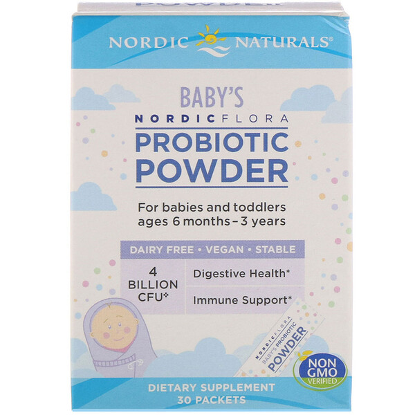 Nordic Flora Baby's Probiotic Powder, Ages 6 Months - 3 Years, 4 Billion CFU, 30 Packets
