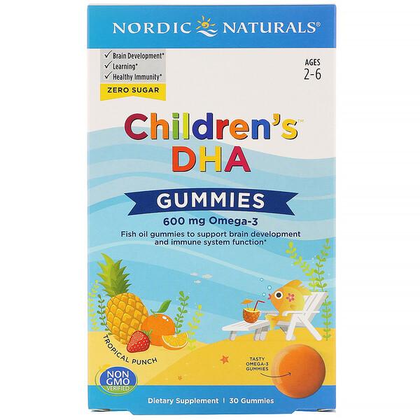Children's DHA, жевательные таблетки с ДГК, со вкусом тропических фруктов, 600мг, 30жевательных таблеток