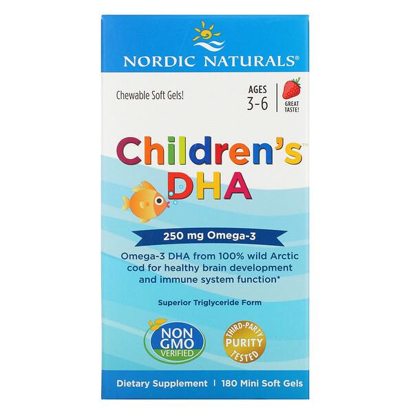 Nordic Naturals, ДГК для детей, клубника, для детей 3–6 лет, 250мг, 180 желатиновых мини-капсул