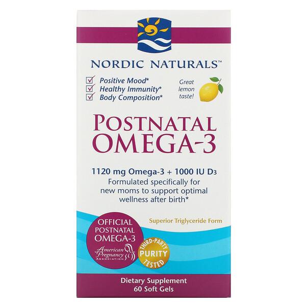 Nordic Naturals, омега-3 для приема после родов, лимон, 1120мг, 60капсул
