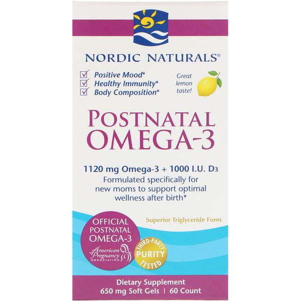 Postnatal Omega-3, лимон, 650 мг, 60 мягких таблеток