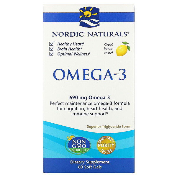 Омега-3, с лимонным вкусом, 690мг, 60 капсул