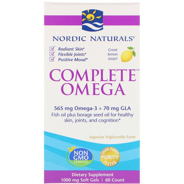 Complete Omega, со вкусом лимона, 1000 мг, 60 гелевых капсул
