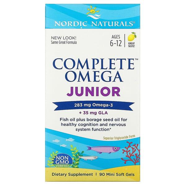 Complete Omega, для детей от 6до 12лет, со вкусом лимона, 283мг, 90мини-капсул