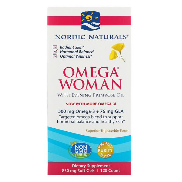 Nordic Naturals, Omega Woman, с маслом примулы вечерней, 120капсул