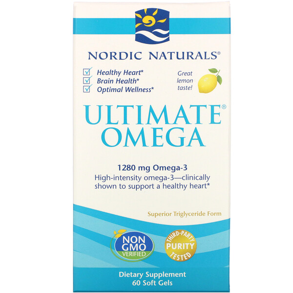 Nordic Naturals, Ultimate Omega, со вкусом лимона, 1280 мг, 60 капсул