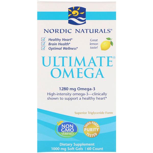 Ultimate Omega, со вкусом лимона, 1280 мг, 60 мягких желатиновых капсул