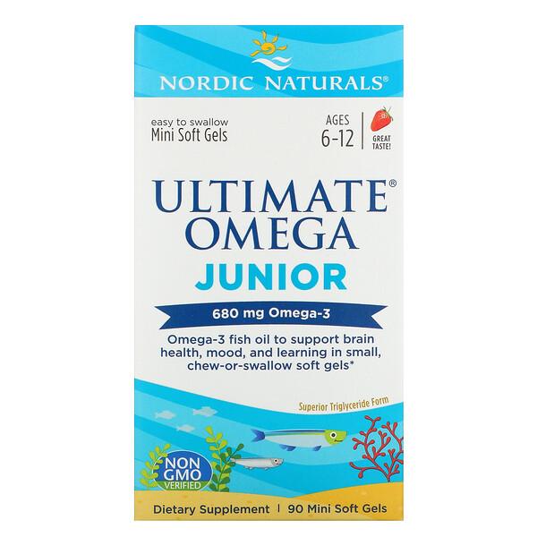 Nordic Naturals, Ultimate Omega Junior, для детей от 6 до 12лет, со вкусом клубники, 680мг, 90мини-капсул