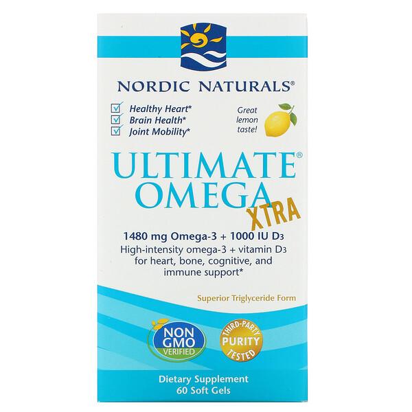 Ultimate Omega Xtra, лимон, 1000 мг, 60 мягких таблеток