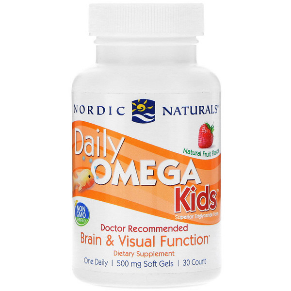 Омега для детей для ежедневного употребления, фруктовый вкус, 500 мг, 30 жевательных капсул