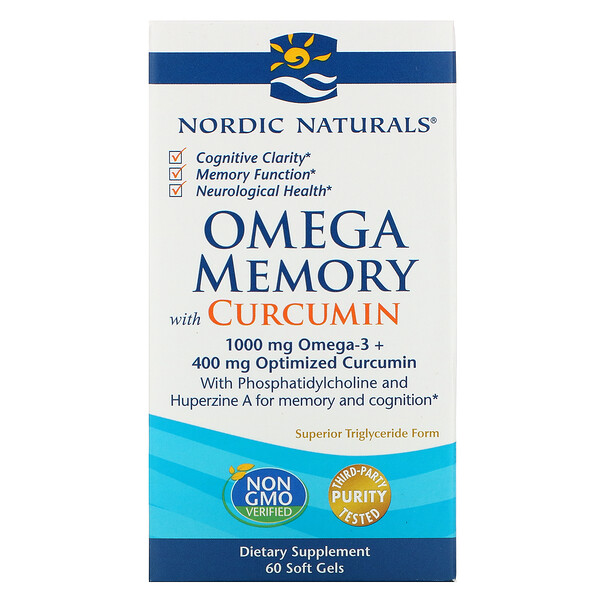 Nordic Naturals, Omega Memory with Curcumin, 1,000 mg, 60 Soft Gels