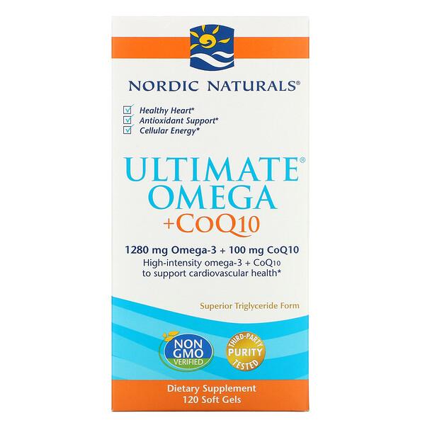 Nordic Naturals, Ultimate Omega + CoQ10, 1000мг, 120 мягких желатиновых капсул