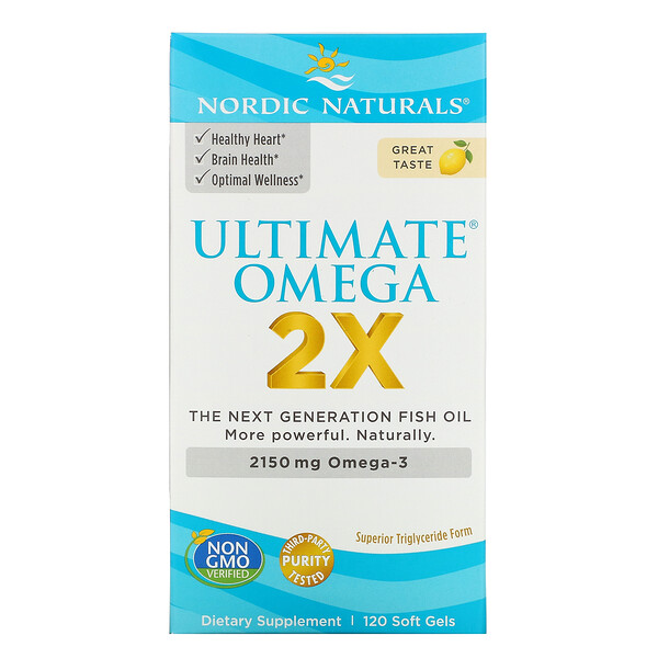 Nordic Naturals, Ultimate Omega 2X, со вкусом лимона, 2150 мг, 120 капсул
