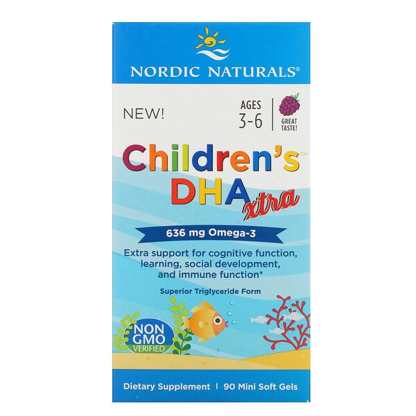 Nordic Naturals, Children's DHA Xtra, для детей от 3до 6лет, ягодный вкус, 636мг, 90мини-капсул