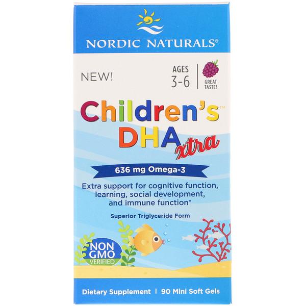 Children's DHA Xtra, со вкусом ягод, для детей в возрасте 3–6 лет, 636мг, 90 желатиновых мини-капсул