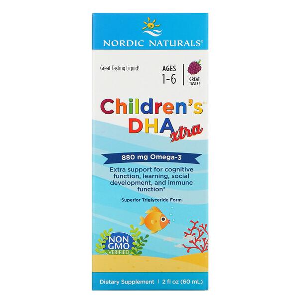 Nordic Naturals, Children's DHA Xtra, для детей возрастом 1–6лет, ягодный вкус, 880мг, 60мл (2жидк.унции)