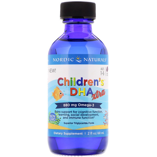 Children's DHA Xtra, со вкусом ягод, для детей 1–6 лет, 880мг, 60мл (2жидк. унции)