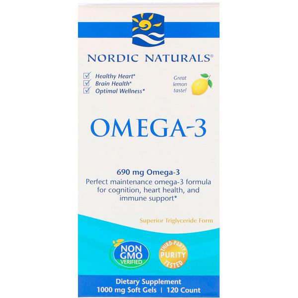 Омега-3, лимон, 690 мг, 120 мягких желатиновых капсул