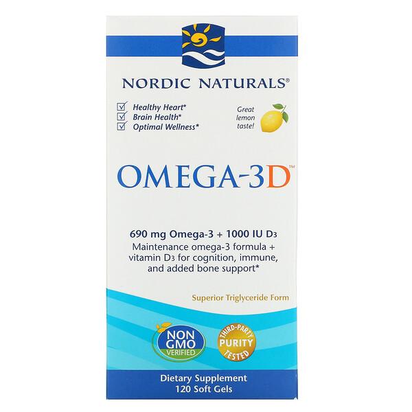 Nordic Naturals, Omega-3D, со вкусом лимона, 1000 мг, 120 мягких желатиновых капсул