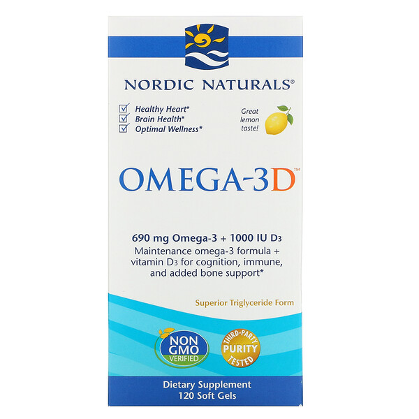Omega-3D, со вкусом лимона, 1000 мг, 120 мягких желатиновых капсул