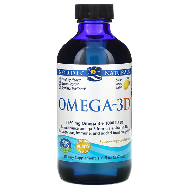 Omega-3D, Lemon, 237 мл (8 жидких унций)