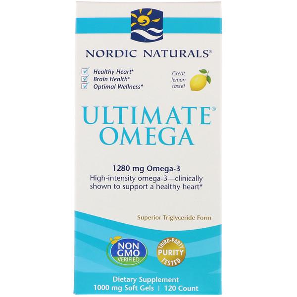 Ultimate Omega, лимон, 1,280 мг, 120 желатиновых капсул