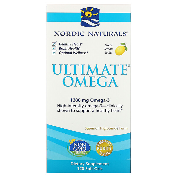 Ultimate Omega, со вкусом лимона, 1280мг, 120капсул