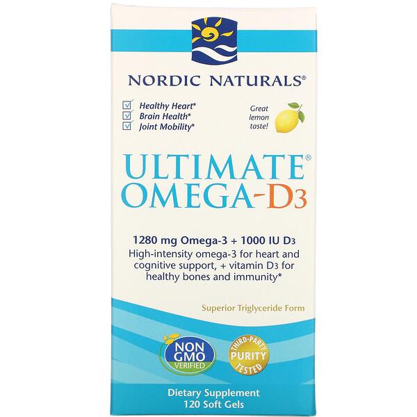 Ultimate Омега-D3, со вкусом лимона, 1000мг, 120капсул