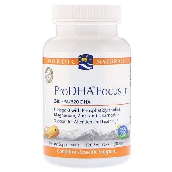 Nordic Naturals, ProDHA Focus Junior, 500 мг, 120 мягких таблеток (Discontinued Item)