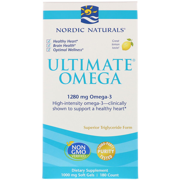 Nordic Naturals, Ultimate Omega, вкус лимона, 1,280 мг, 180 мягких капсул