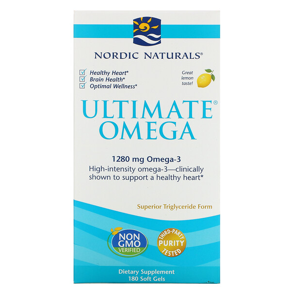 Nordic Naturals, Ultimate Omega, со вкусом лимона, 1280 мг, 180 капсул