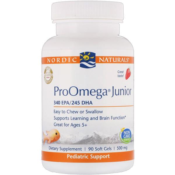ProOmega Junior, клубничный вкус, 500мг, 90мягких таблеток