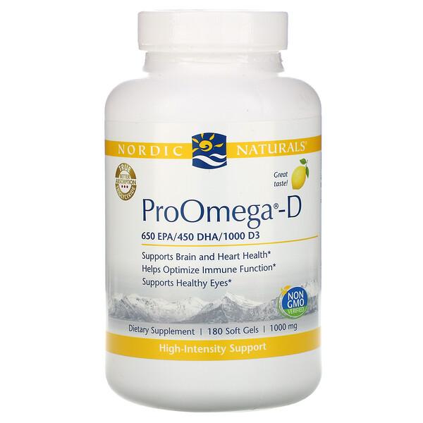 ProOmega-D, со вкусом лимона, 180 мягких желатиновых капсул