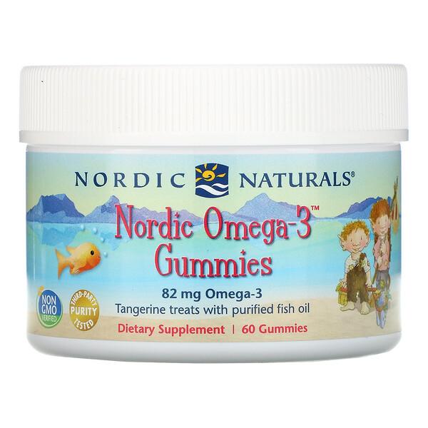 Жевательные конфеты Nordic Omega-3 со вкусом мандарина, 82мг, 60 жевательных конфет