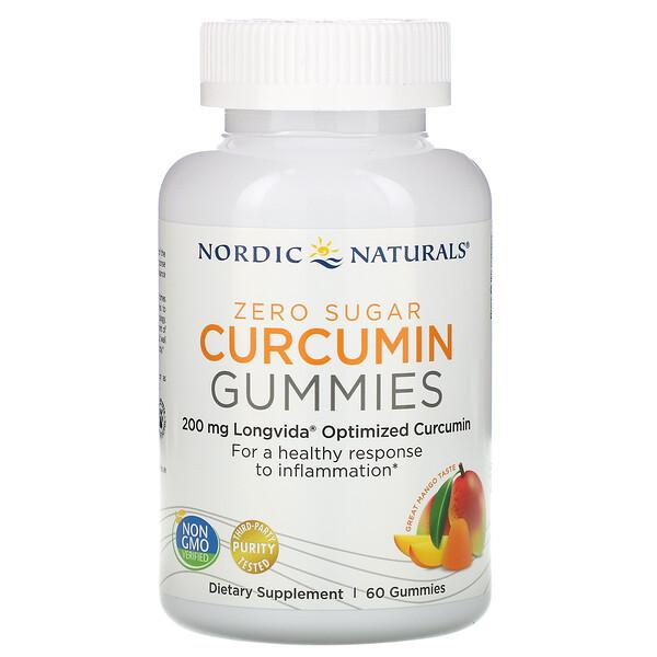 Nordic Naturals, Жевательные таблетки куркумин, манго, 200 мг, 60 жевательных таблеток