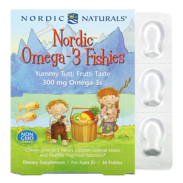 Nordic, рыбки с омега-3, для детей от 2лет, вкус тутти-фрутти, 300мг, 36рыбок