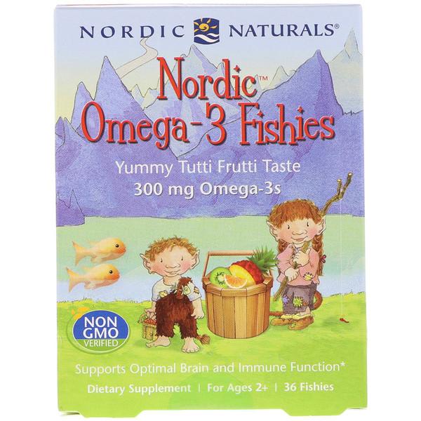 Рыбки Nordic Omega-3 со вкусом тутти-фрутти для детей в возрасте от 2 лет, 300мг, 36рыбок