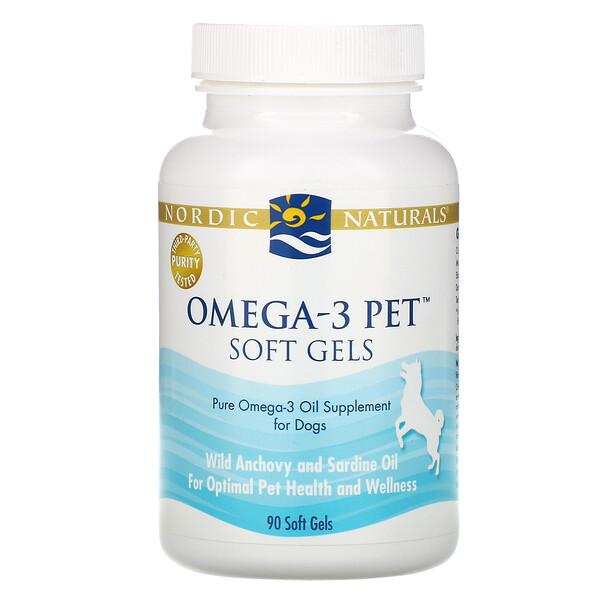 Nordic Naturals, Omega-3 Pet, мягкие желатиновые капсулы для собак, 90 капсул