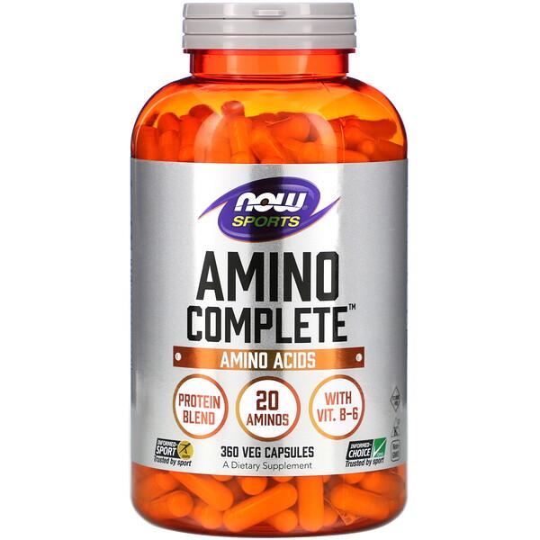 Now Foods, Sports, Amino Complete, 360 растительных капсул
