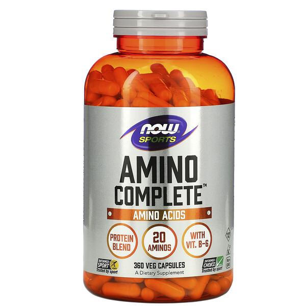 Now Foods, Sports, Amino Complete, аминокислотный комплекс, 360растительных капсул