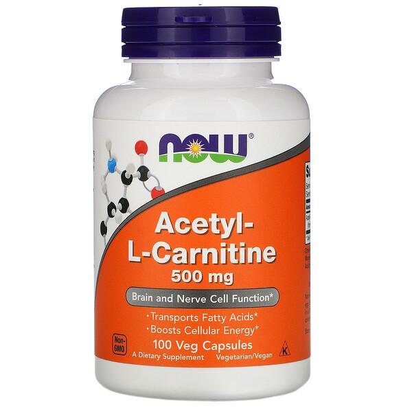 Now Foods, Ацетил-L-карнитин, 500мг, 100растительных капсул