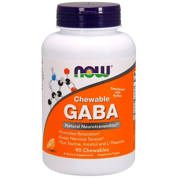Now Foods, ГАМК в форме жевательных таблеток, натуральный ароматизатор «апельсин», 90жевательных таблеток