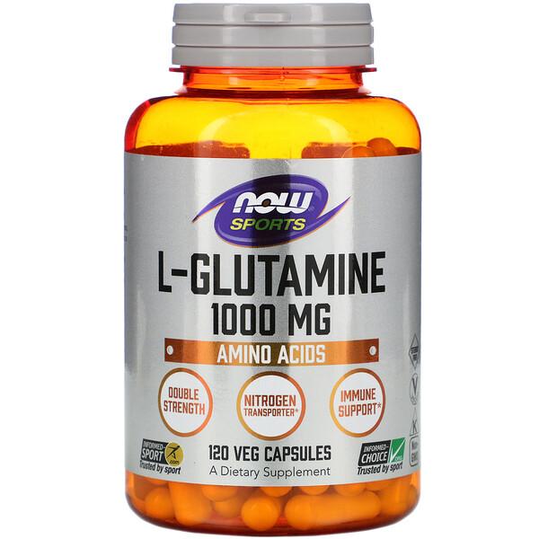 Now Foods, L-глутамин, двойной концентрации, 1000 мг, 120 растительных капсул