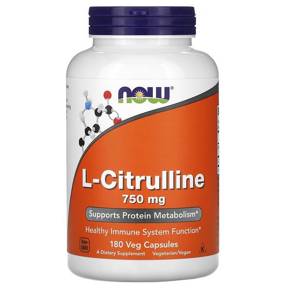L-цитрулин, 750 мг, 180 капсул в растительной оболочке